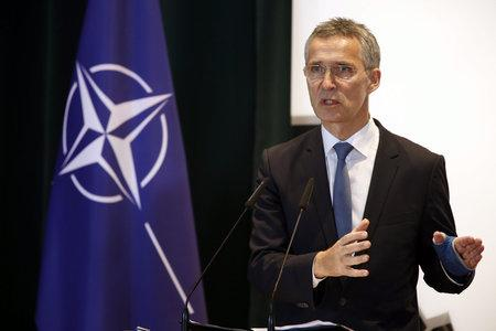 The National: epa05063308 NATO Secretary General Jens Stoltenberg answer media questions during a joint press conference after his meeting with Albanian Prime Minister Edi Rama, (not pictured) in Tirana, Albania, 10 December 2015. NATO Secretary General Jens Stoltenber