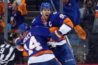 New York Islanders celebrate their first playoff win since 1993