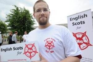 English Scots for Yes is headed by Inverclyde North SNP councillor Math Campbell-Sturgess and his fiancee Angel Brammer