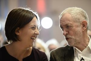 Labour's UK leader Jeremy Corbyn and Scottish counterpart Kezia Dugdale share a light moment