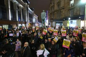 Anti-trump protesters in Buchanan Street in Glasgow yesterday