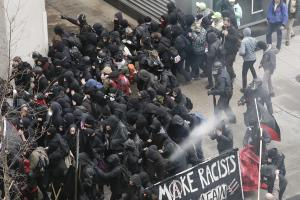 Police use pepper spray on protesters in Washington DC yesterday