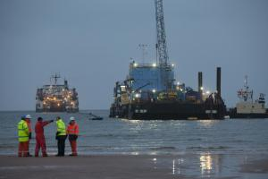 The subsea power cable comes ashore at Ardneil Bay in a venture between the National Grid and ScottishPower     Photograph: Chris James
