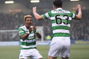 Scott Sinclair celebrates his opening goal with Kieran Tierney, who made his first appearance for Celtic since October