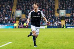 Rudi Skacel celebrates setting up the equaliser that will take him back to Gorgie for Wednesday's replay