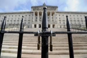 The locked gates of Stormont. Photo credit: Niall Carson/PA Wire