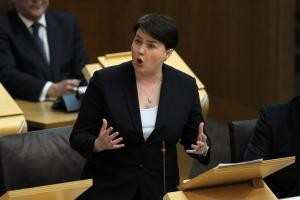 Aggressive, truculent and  Thatcher-like? Ruth Davidson's manner during the Section 30 debate. Photograph: Getty Images