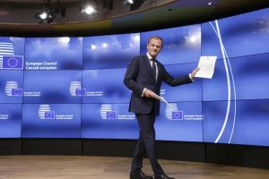 European Council president Donald Tusk with May's letter