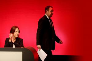 Ian Murray MP walks past Scottish Labour leader Kezia Dugdale to speak in the debate at the party's Scottish conference