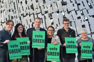 Chris March, third from left, with the other Green candidates standing in  the Falkirk Council area