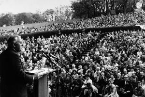 Harold Wilson speaking at a rally in Glasgow on May 5 1974
