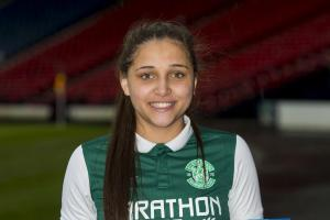 Abi Harrison scored Hibs' second of the afternoon. Photograph: SNS