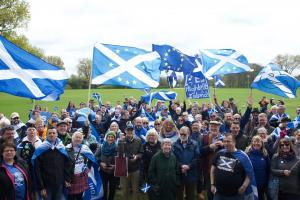 Supporters of Scottish independence at a rally in The Hague