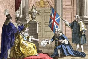 An 1809 engraving shows Scottish nobleman James Douglas, the 2nd Duke  of Queensberry, presenting the Act of Union to Queen Anne  in 1707