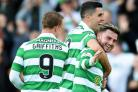 Patrick Roberts, right, scored a double, with Tom Rogic, centre, and Leigh Griffiths, left, also getting a goal each