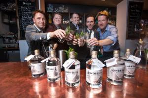 Dave Mullin (second from right) at the launch of Ginerosity gin at Henry's Cellar Bar, Edinburgh, in November 2016                        Photograph:Tina Norris