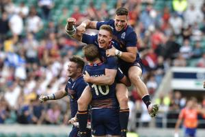 Scotland celebrate after defeating England during the London Sevens cup final