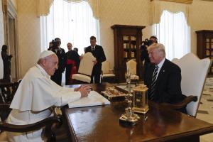 Pope Francis meets with President Donald Trump on the occasion of their private audience, at the Vatican