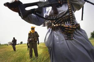 A heavily armed Sudanese rebel in Darfur