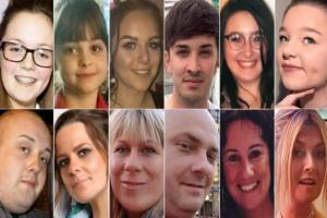 Clockwise from top-left: Georgina Callander, Saffie Rose Roussos, Olivia Campbell, Martyn Hett, Nell Jones, Sorrell Leczkowski, Michelle Kiss, Jane Tweddle-Taylor, Marcin Klis, Angelika Klis, Kelly Brewster and John Atkinson