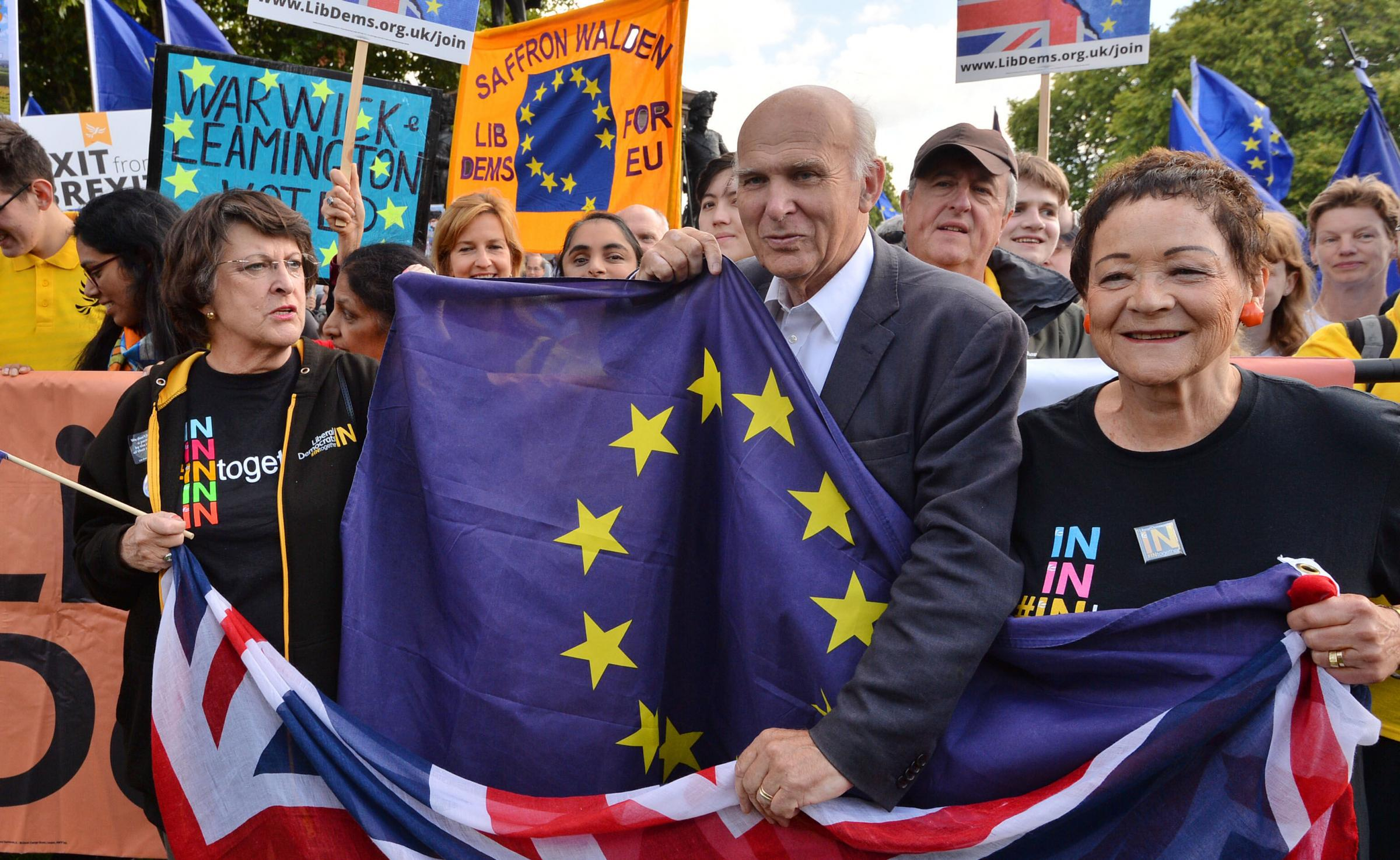 Liberal Democrat leader Sir Vince Cable joins protesters at Hyde Park Corner ahead of a pro-EU People's March For Europe in London. Photograph: PA
