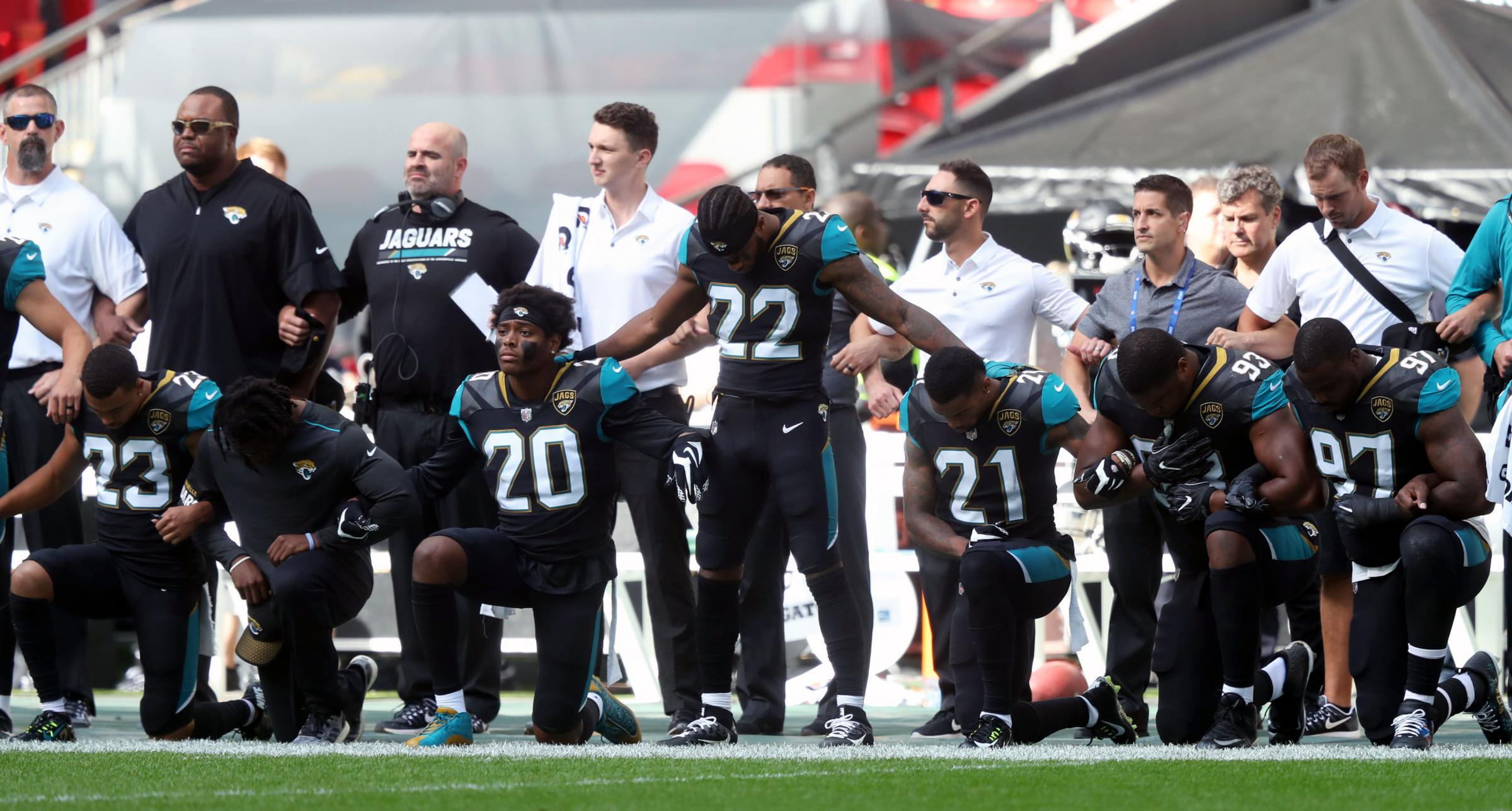 Players at an NFL match in London on Sunday took part in the protest. Photograph: PA