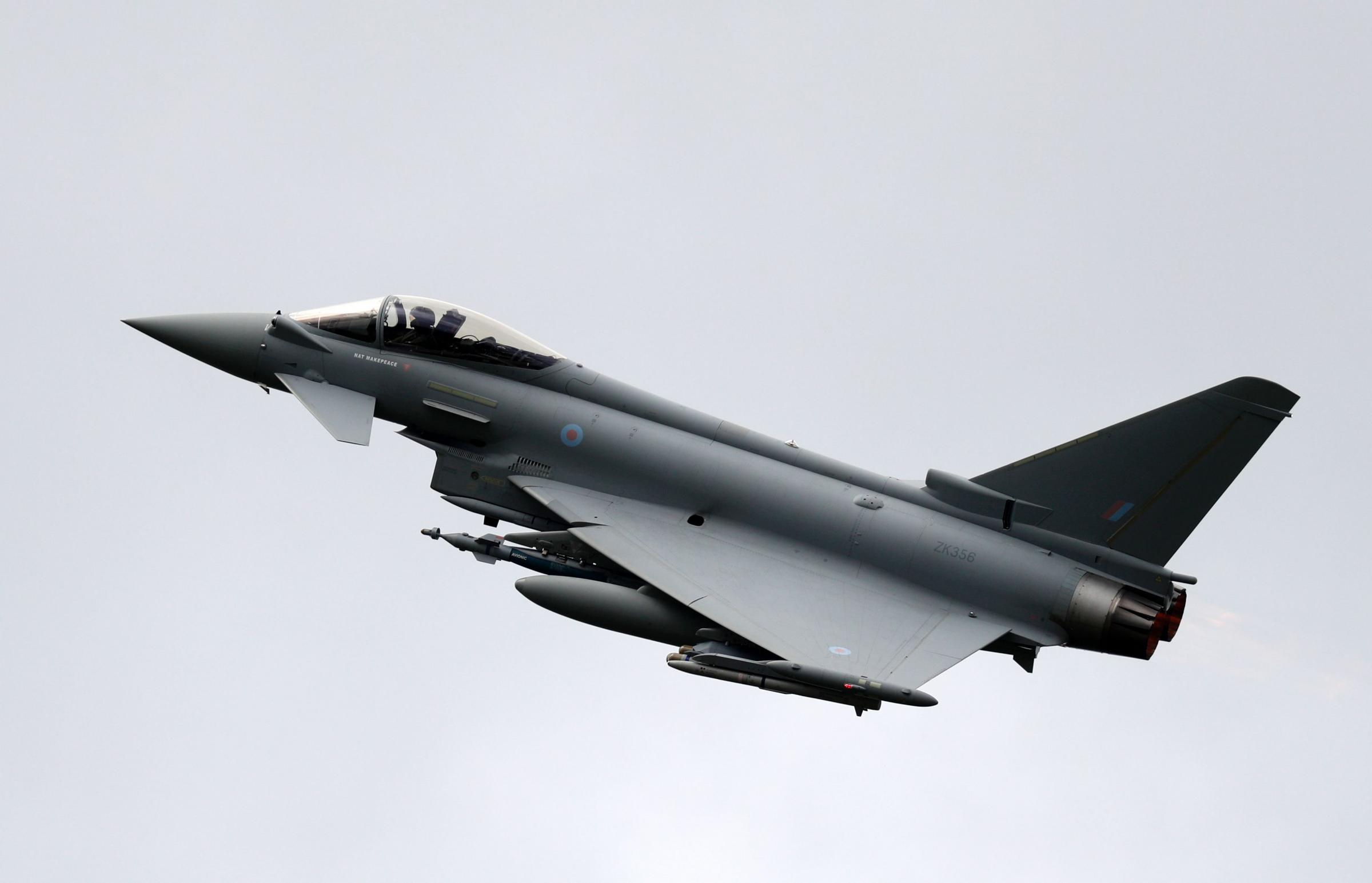 A Eurofighter typhoon – pictured – belonging to Spain was involved in the incident