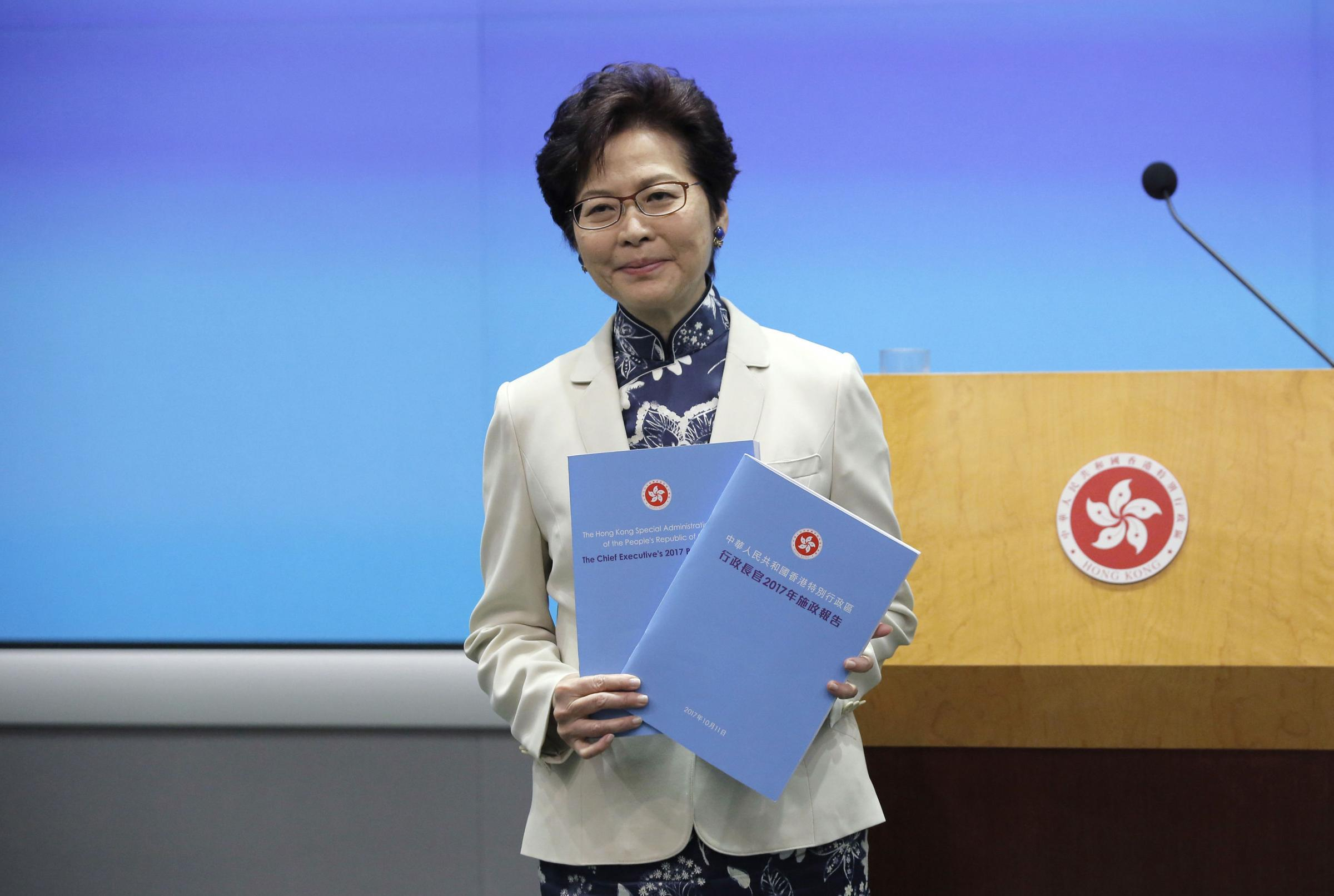 Hong Kong Chief Executive Carrie Lam at the policy address