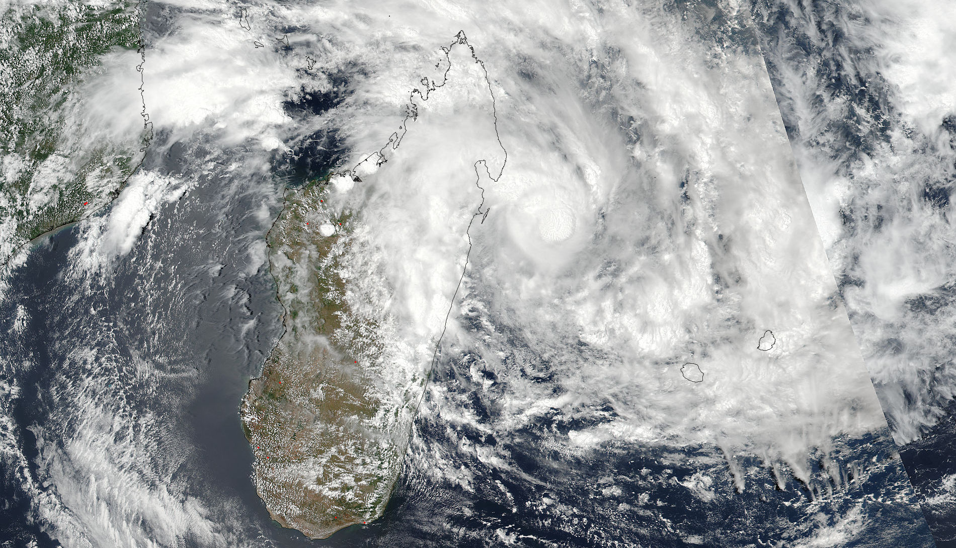 Cyclone Ava sits over Madagascar