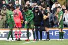 Dedryck Boyata, third from left, limps off during Celtic's defeat to Kilmarnock. Photograph: SNS