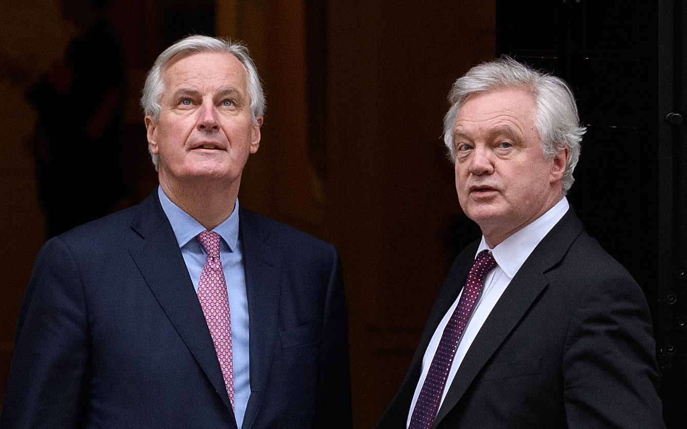 The EU's chief Brexit negotiator Michel Barnier with Brexit Secretary David Davis
