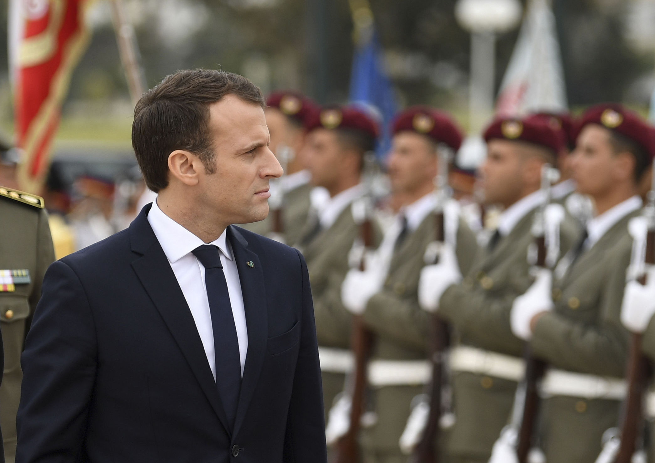 Emmanuel Macron is trying to beef up his country's defence capability. Photograph: AP