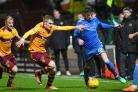 03/04/18 LADBROKES PREMIERSHIP. MOTHERWELL v ABERDEEN (0-2). FIR PARK - MOTHERWELL. Aberdeen's Ryan Christie (R) in action with Motherwell's Chris Cadden..
