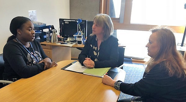 Dami Samuel, left, visited Cabinet Secretary Shona Robison, centre, as a guest of MSP Joan McAlpine