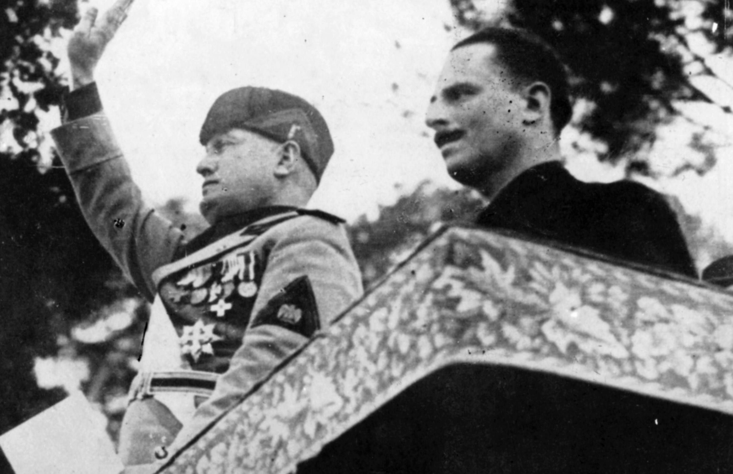 Sir Oswald Mosley with Benito Mussolini in Rome
