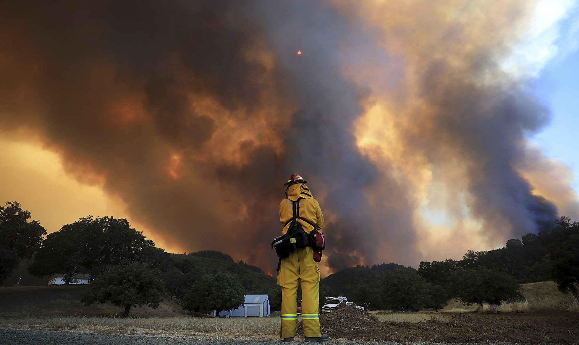The fires are only 30% contained. Photograph: AP