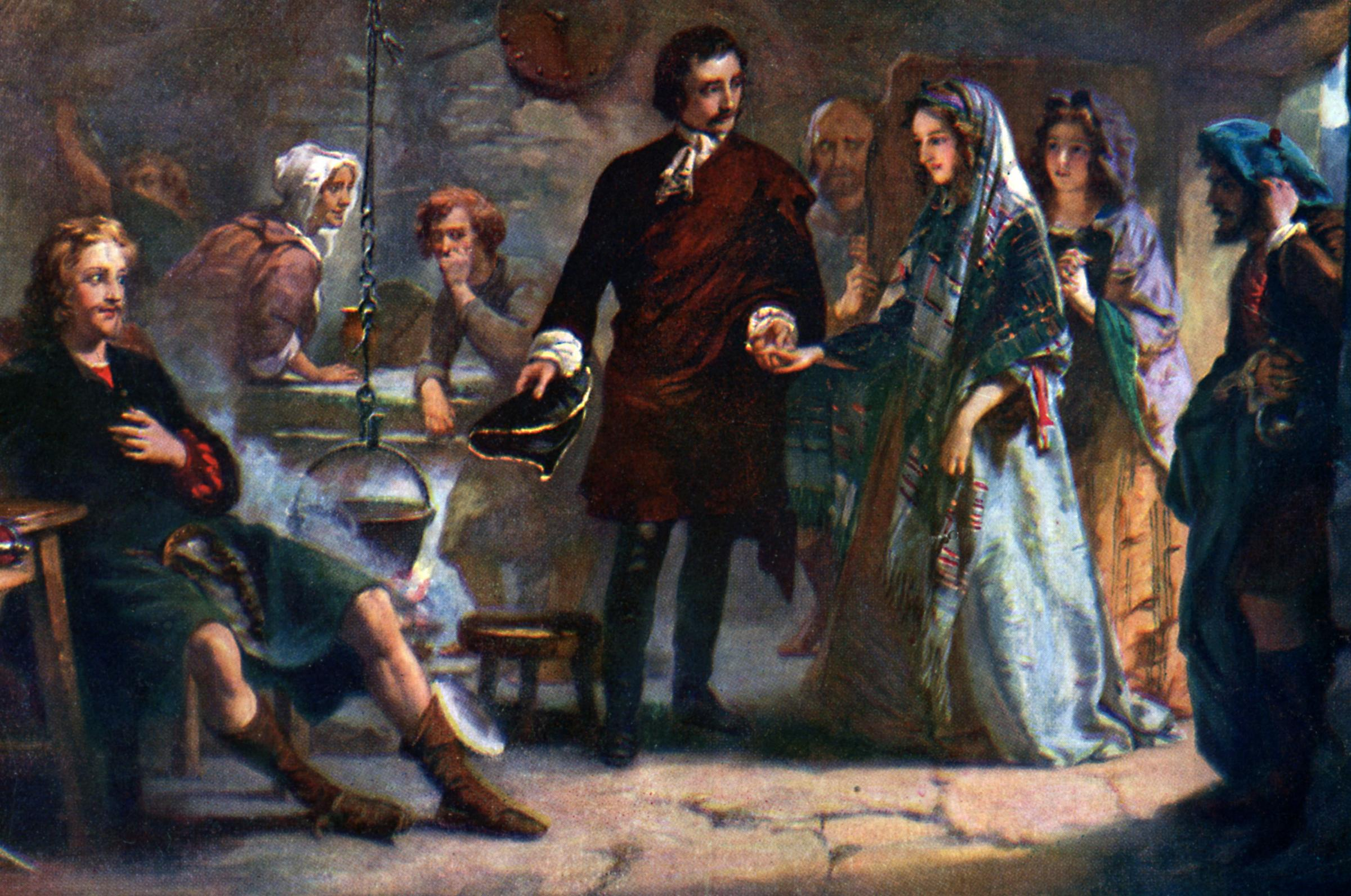 A depiction of Flora MacDonald's first meeting with Bonnie Prince Charlie on Uist