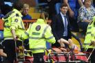 Rangers manager Steven Gerrard looks on as Jamie Murphy is stretchered off.