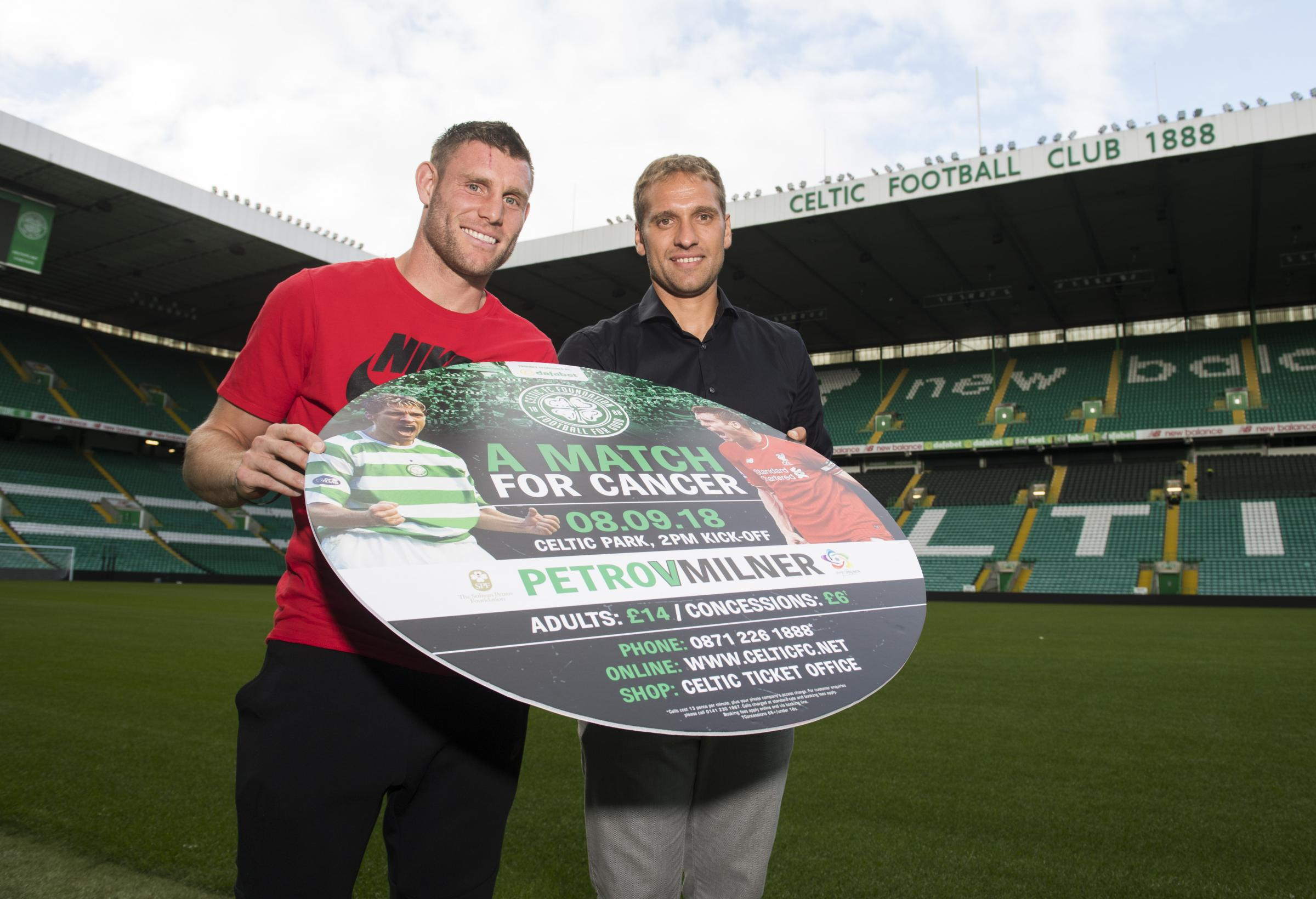 Liverpool player James Milner and former Celtic midfielder Stiliyan Petrov promote 'A Match for Cancer' at Parkhead.