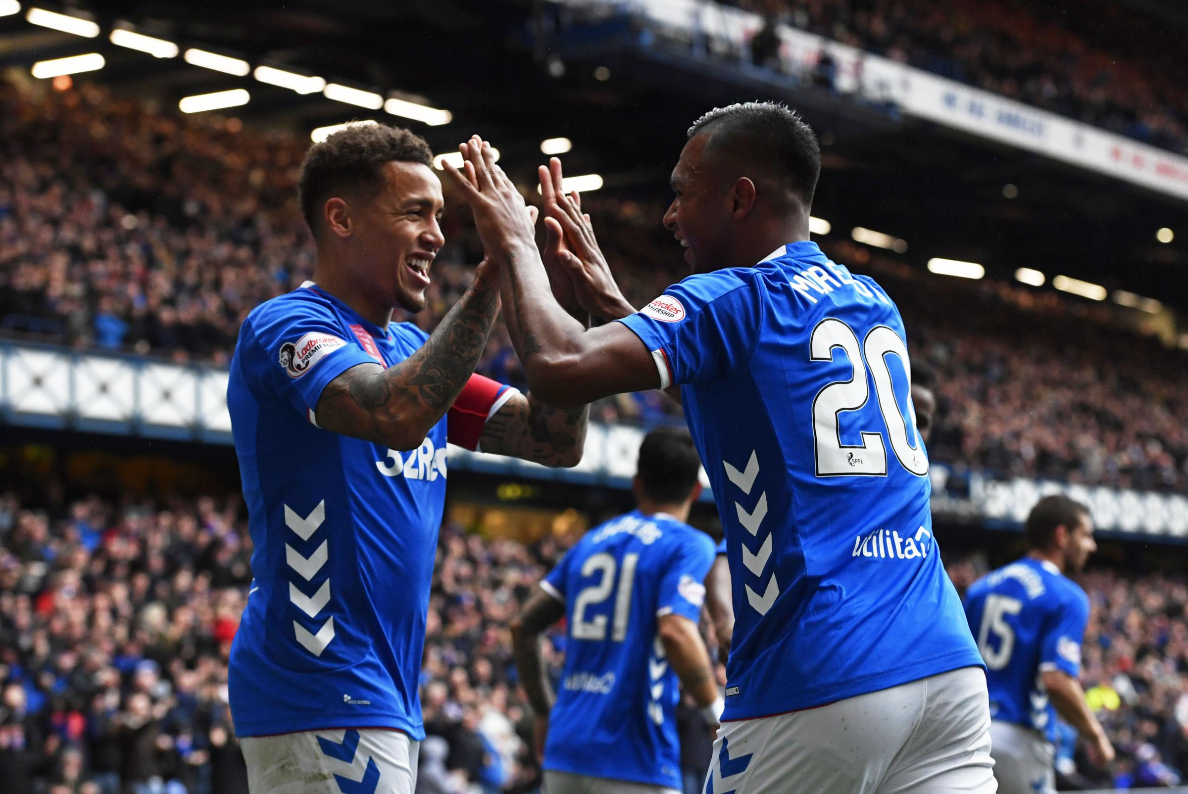 07/10/18 LADBROKES PREMIERSHIP.RANGERS v HEARTS.IBROX - GLASGOW.Rangers' Alfredo Morelos (R) celebrates his goal with James Tavernier.