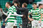 Celtic manager Brendan Rodgers, centre right, congratulates Odsonne Edouard, centre left, after the 4-2 win over Hibernian.