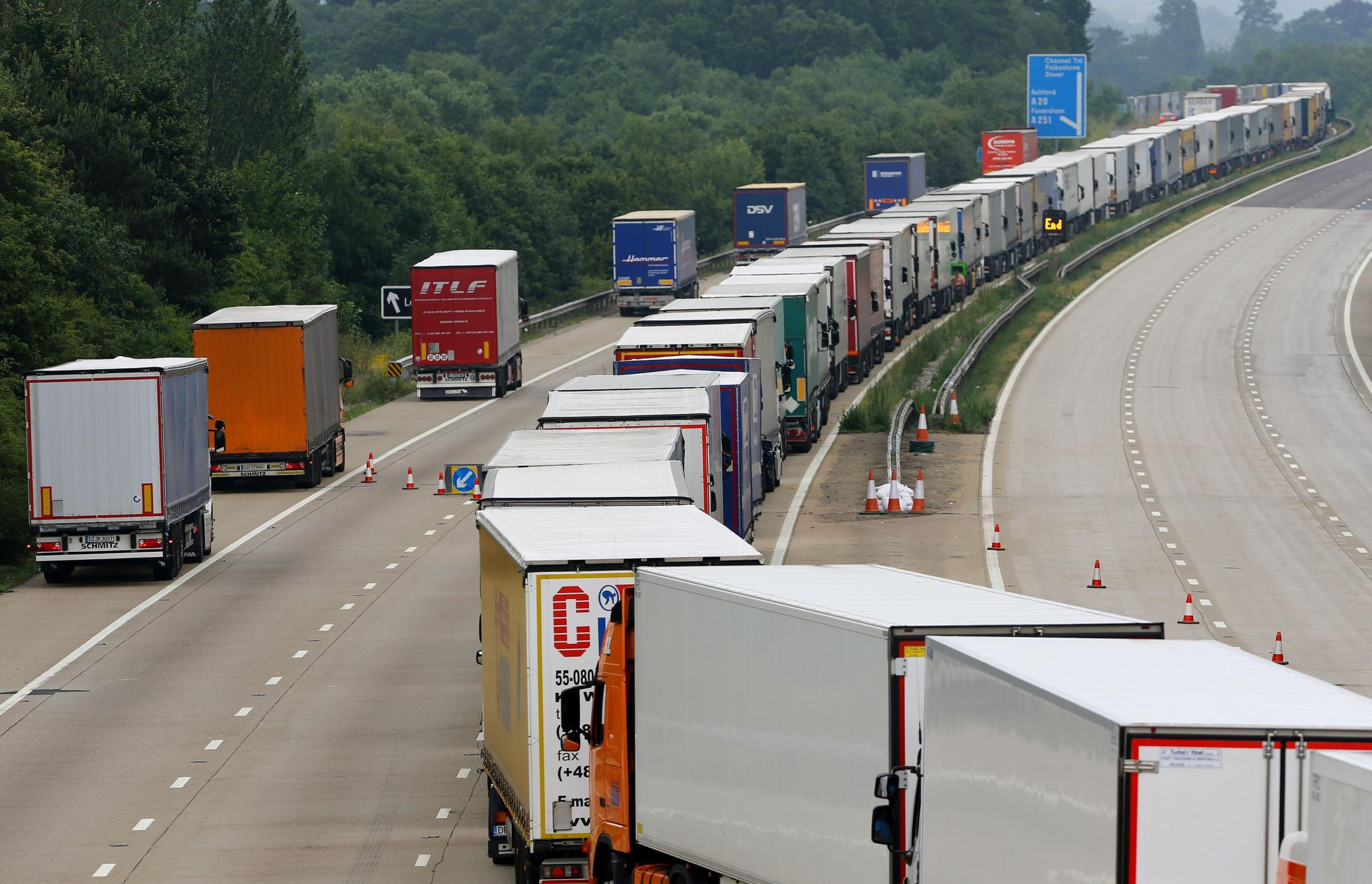 No-deal Brexit traffic jam test: Kent airfield turns lorry parking lot